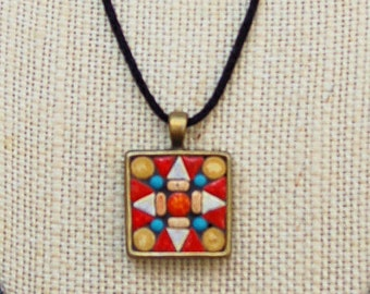 Handmade mosaic tile pendant / necklace