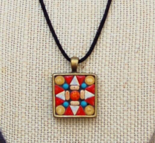 Handmade Mosaic Tile Pendant / Necklace