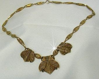 Exceptional Original Theodor Fahrner 1930s guilded silver Art Deco necklace.