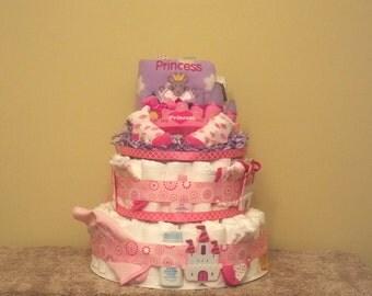Princess Diaper Cake - Ship Ready