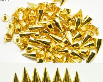 FREE SHIPPING 13mm Gold Studs and Spikes For Leather Crafts Cone Bullet 10/30/50/100/500/1000 pcs