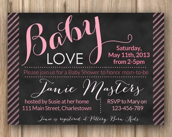baby shower invitations, printable baby shower invites, baby love invitation, pink chalkboard baby shower invite, pink stripes chalkboard