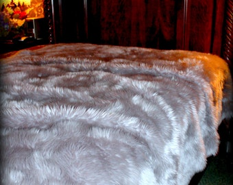 Plush Faux Fur Bedspread - Comforter - Throw Blanket - Silver Gray - Minky Cuddle Fur Lining - Fur Accents Original Designs - USA