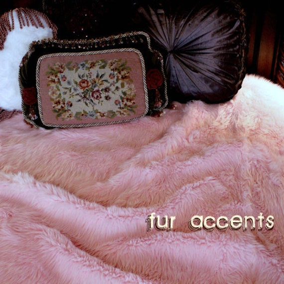 Fake Cotton Candy: Faux Fur Bedspread Comforter Throw Blanket Cotton Candy