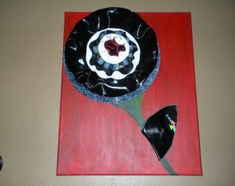 "Three-Dimensional Record Flower on 20""x16"" Canvas"