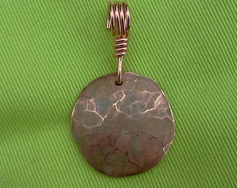 Hammered copper pendant #30