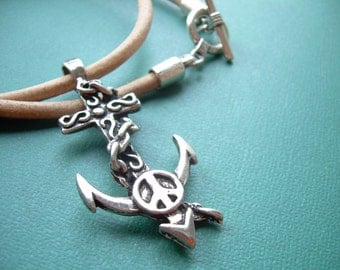 Anchor Necklace, Mens Necklace, Leather Necklace, Mens Jewelry, Mens Gift,Cross, Infinity, Pendant, gift for him, Nautical Gift
