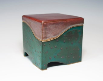 Ceramic box, slab built, stoneware, handmade pottery