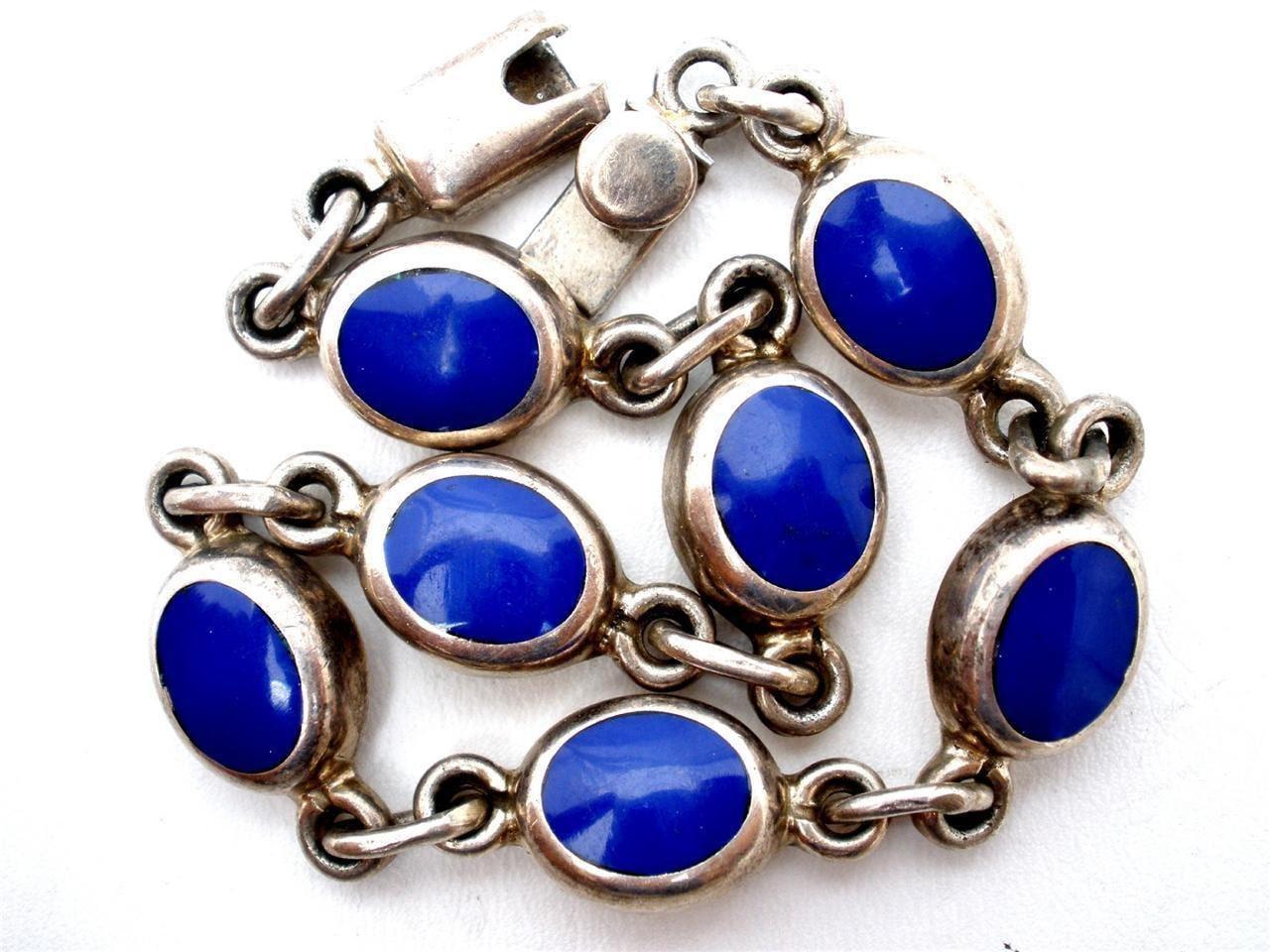Vintage Lapis Sterling Silver Bracelet Blue Denim Lazuli