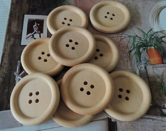 10Pcs  30mm Unfinished Natural  Wood button 4 holes No varnish  for your handmade ( W104)
