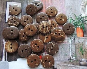 25 Pcs 15mm Coconut button   Brown (W157)