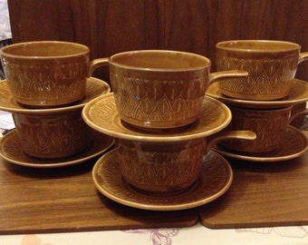 Staffordshire Soup Cups & Saucers x6