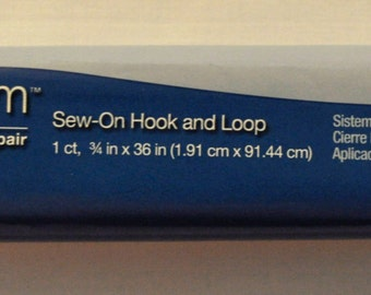"Sew On Hook and Loop Velcro - White - 3/4"" Wide by 36 Inches"