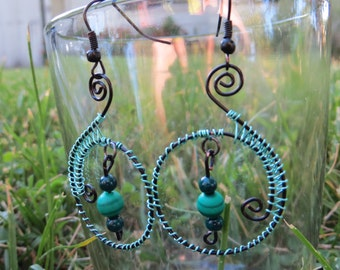 Black and green wire earrings