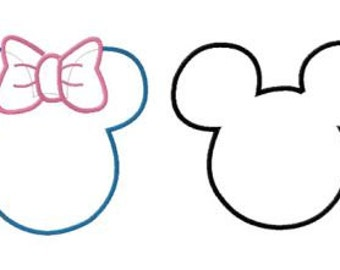 INSTANT DOWNLOAD Disney Mickey and Minnie Ears Two Pack Machine Embroidery Applique Designs