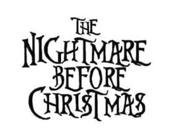 INSTANT DOWNLOAD The Nightmare Before Christmas Inspired Machine Embroidery Font Set Includes 4 Sizes