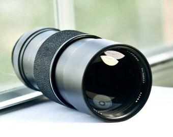 Konica lens  tamron-f  1 : 3.5  f 200mm  with Case - Vintage camera - vintage lenses- K/AR