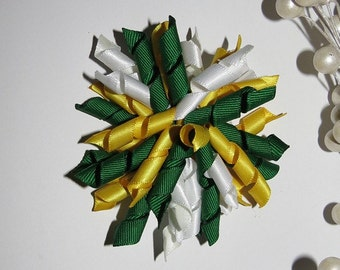 Korker Bow Hair Clip - Greenbay Packers, Green, Yellow and White