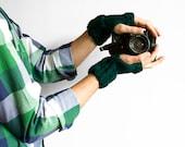 Emerald Green Fingerless Gloves, Unisex Green Mittens for Women or Men, Winter Knit Warmers ohtteam spring