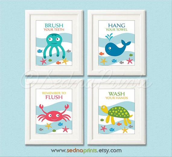 Bathroom Art Print Set 5X7 Kids Bathroom Wall Decor