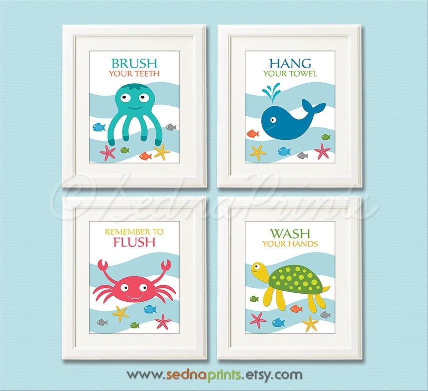 Bathroom Art Print Set Kids Bathroom Wall Decor