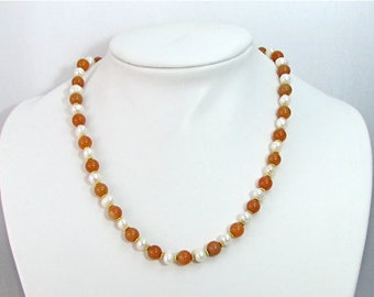 Elegant pearl and orange aventurine necklace.  Pearl beaded necklace, grandma or mom christmas gift, hanukkah gift