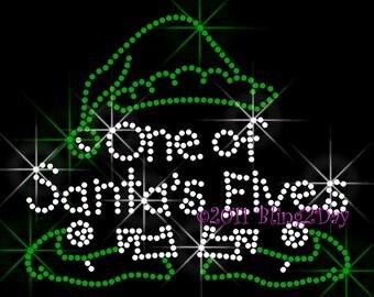 One Of Santa's Elves - Iron on Rhinestone Transfer Bling Hot Fix Applique Christmas Holiday - DIY