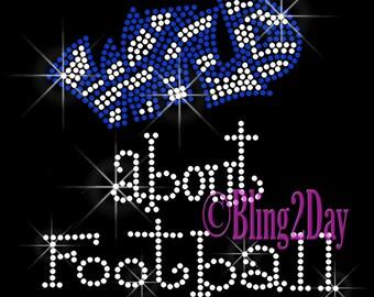 Wild about Football - Iron on Football Rhinestone Transfer Bling Hot Fix Bling - Sports School Mom - DIY Football Shirts