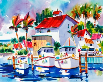 Fishing Boat Print, Boat Watercolor Print 5 x 7, 8 x 10, 11 x 14 Ellen Negley, Tropical Art, Fishing Painting, Boat Painting, Beach Painting