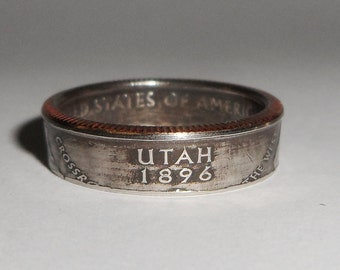 UTAH  us quarter  coin ring size  or pendant