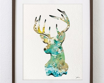 Deer Art Watercolor Painting - 8x10 Archival Print - White-tailed Deer Print - Turquoise and Brown Deer Silhouette