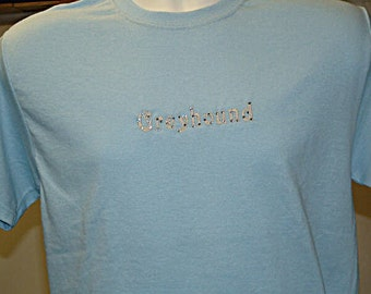4B Embroidered Greyhound Text with Swarovski crystals, In Light Blue.  1S, 1M, 1L.