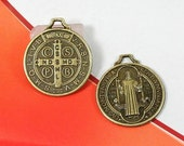 5 Pcs Antique Bronze Saint Benedict Charms Pendants St Benedicts Medal 22mm Handmade Bracelet Necklace Jewelry - Ships Fast From California