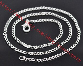 10pcs 20 inch Silver plated cable chain necklace with lobster clasps