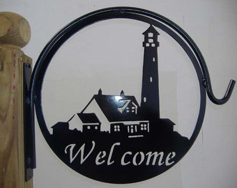 Lighthouse Welcome Metal Plant Hanger