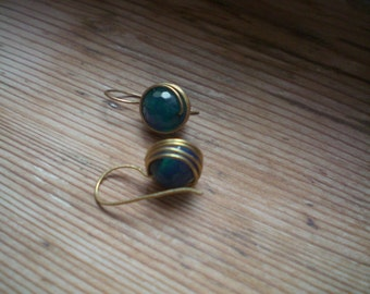Brass earrings // Blue agate // agate earrings // agate jewelry // brass accessories // brass jewelry