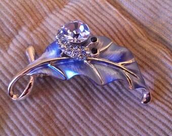 Blue Snail on Leaf Pin 1990's