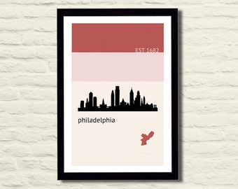 Philadelphia Poster Art Print 11 X 17 City Skyline, Minimalist, Red
