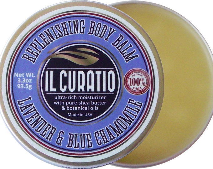 Featured listing image: IlCURATIO BODY BALM / XL Size / 3.3 ounces / Lavender & Blue Chamomile Body Balm / Lavender Essential Oil Hand  Body Salve / free shipping