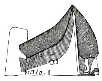 Le Corbusier's chapel of Notre Dame du Haut in Ronchamp Limited Edition Print
