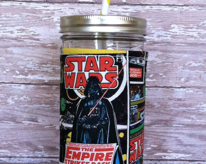 Mason Jar Tumbler 24oz Star Wars Comic Insulated Cozy BPA Free Swirl Straw - Travel Mug Great Gift
