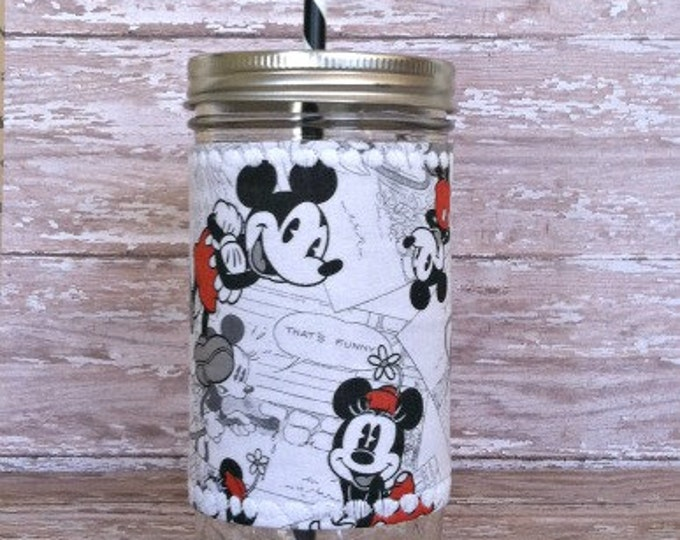 Mason Jar Tumbler 24oz Mickey and Minnie Mouse Insulated Cozy BPA Free Black and White Candy Stripe Swirl Straw - Travel Mug Great Gift