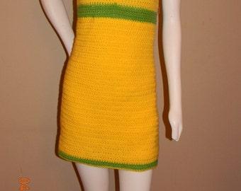 crochet summer halter dress in lemon/lime colors