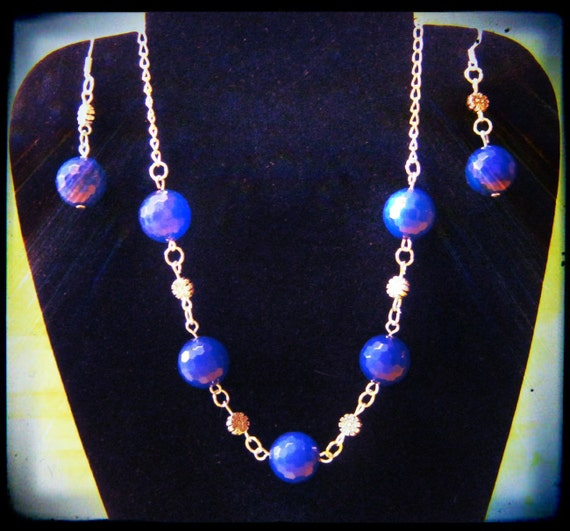 Silver Necklace and Earrings Set with Facetted Dark Blue Jade by IreneDesign2011