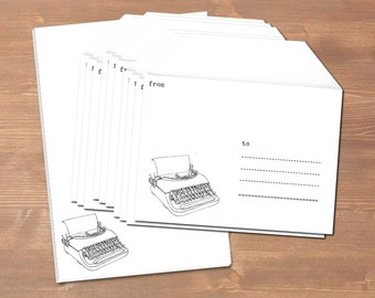 Old typewriter - handmade stationery // recycling paper // 10 envelopes & notepad