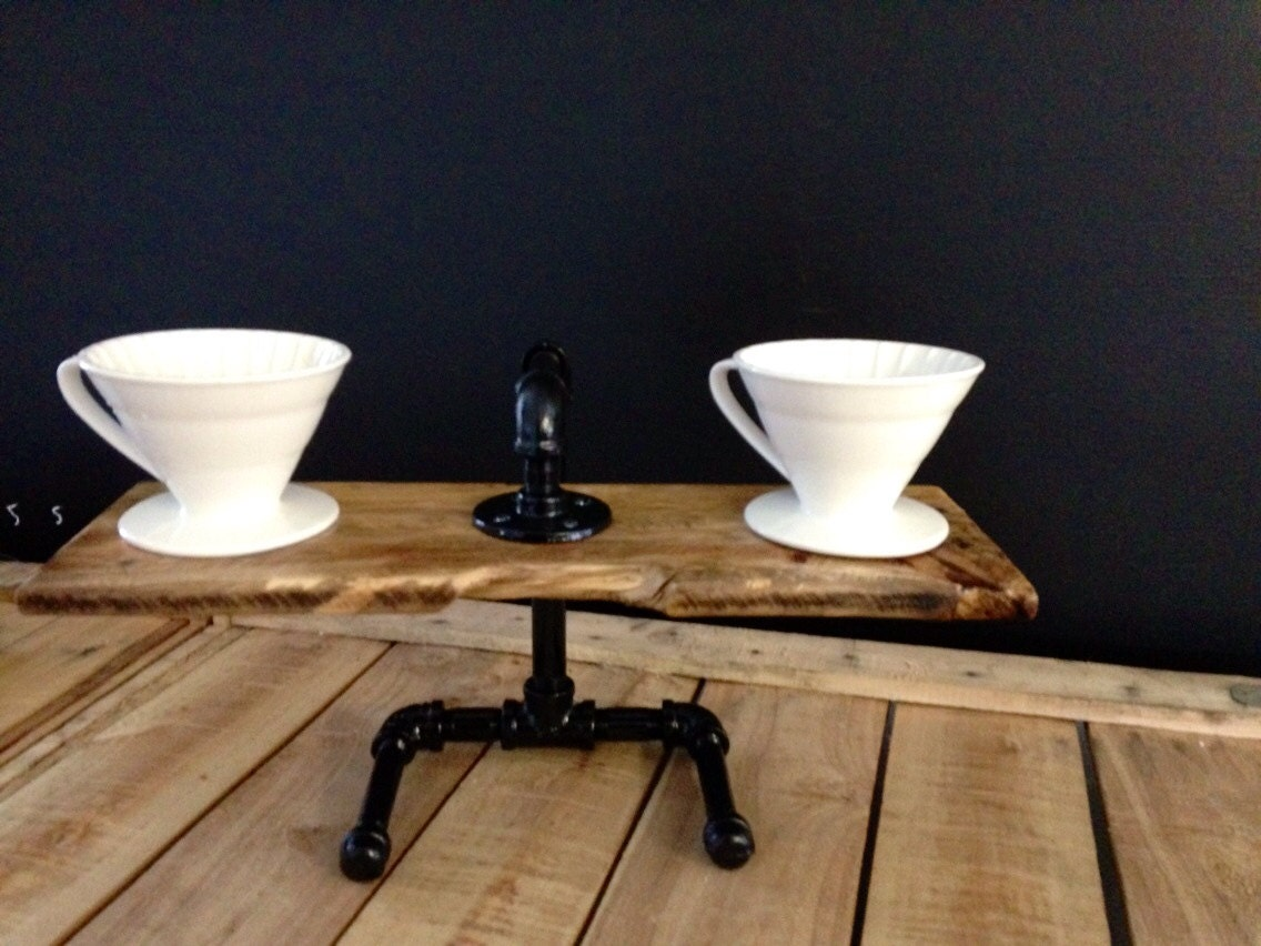 Handcrafted Wood and Steel Pour Over Coffee by CloverWoodWorks