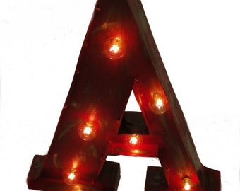 Vintage Marque Style Lighted Wall Mounted Letters ( entire alphabet ) With Switch Option