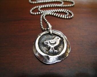 Little bird wax seal necklace