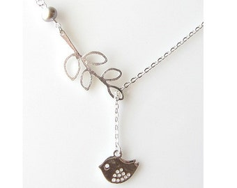Leaf Lariat Littele Bird Necklace