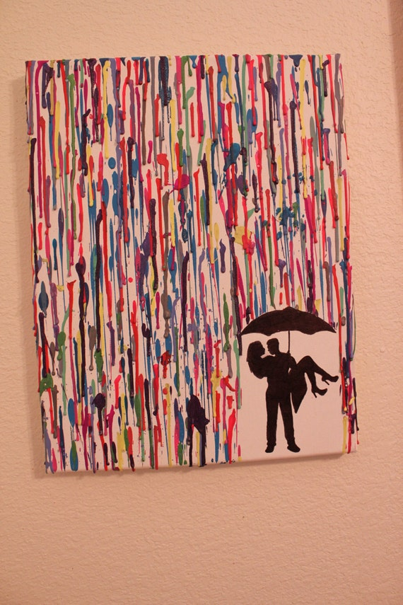 - Melted Crayon Art - Couple Kissing Under Umbrella - Various ColorsCouple Silhouette Umbrella Crayon Art